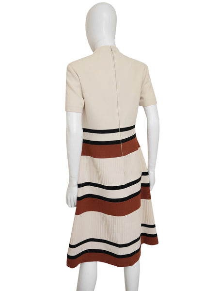 LOUIS FÉRAUD 1960s Vintage Mod Dress Beige Size M
