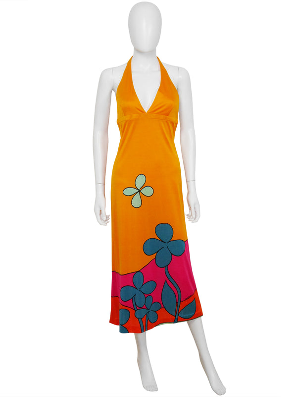 Sold - LOUIS FÉRAUD 1960s Vintage Neckholder Sun Dress Size S