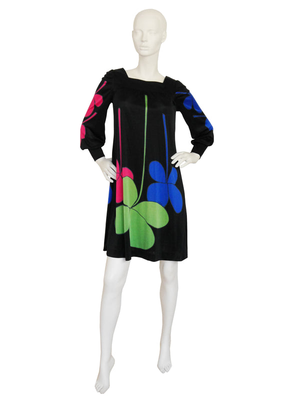 Sold - LOUIS FÉRAUD 1960s Vintage Graphic Printed Dress Size XS-S