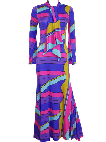 Sold - LOUIS FÉRAUD 1960s Vintage Printed Maxi Dress Size M