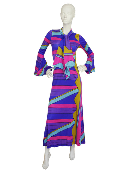 LOUIS FÉRAUD 1960s Vintage Printed Maxi Dress Size M