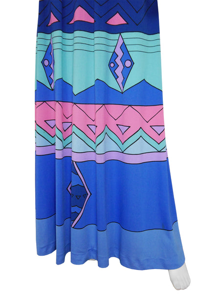 LOUIS FÉRAUD 1960s Vintage Printed Maxi Dress Size S-M
