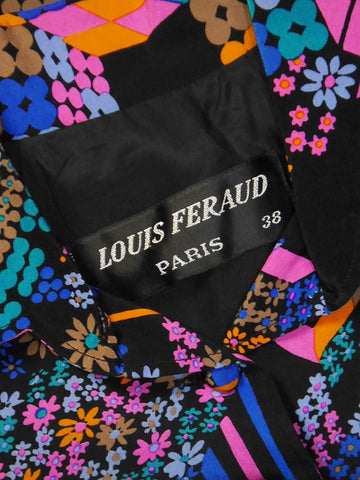 Sold - LOUIS FÉRAUD 1960s Vintage Printed Silk Dress w/ Belt Size XS