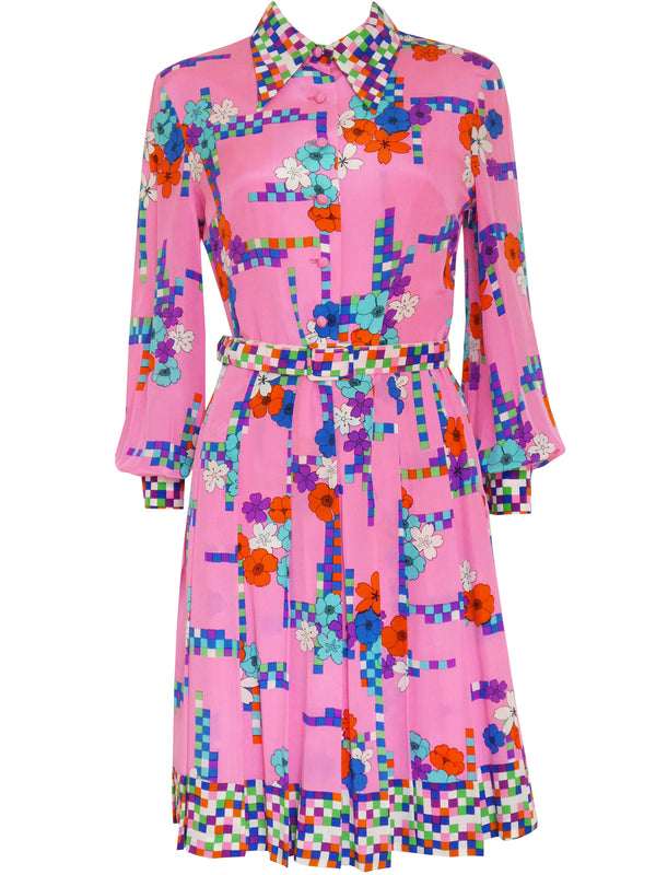 Sold - LOUIS FÉRAUD 1960s Vintage Silk Dress Pink Size M