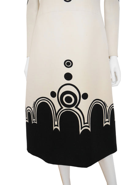 LOUIS FÉRAUD 1960s Vintage Space Age Graphic Dress XS-S