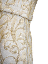 MADELEINE DE RAUCH Paris 1960s Vintage Gold Brocade Dress & Jacket Ensemble Size XXS