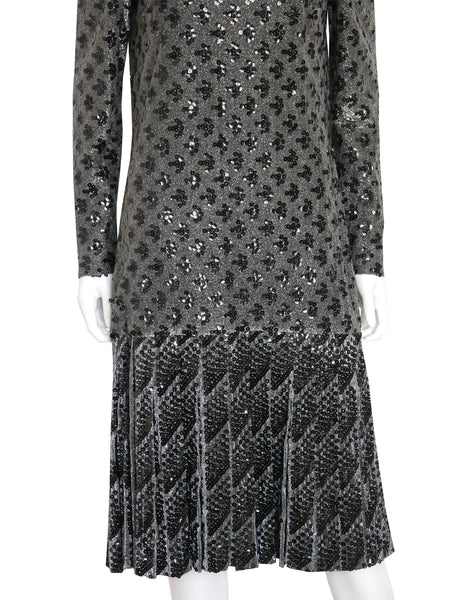 MISS DIOR by CHRISTIAN DIOR c. 1970 Vintage Silver Black Sequin Evening Dress Size S