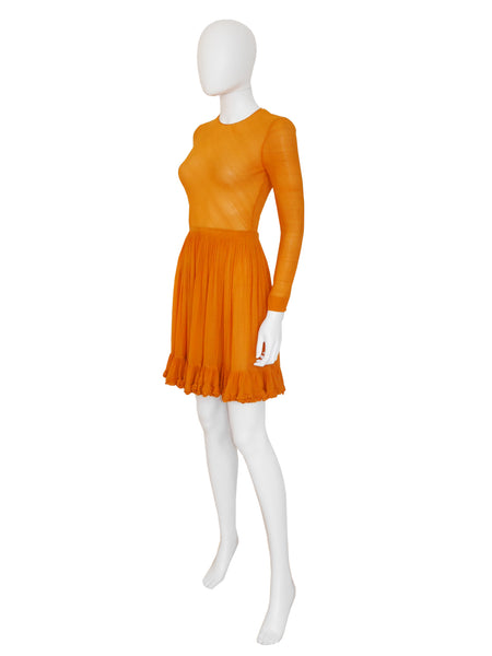 MISS DIOR by CHRISTIAN DIOR 1960s Vintage Silk Dress Orange Size XS