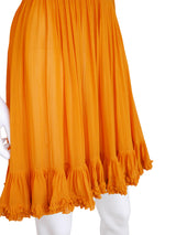Sold - MISS DIOR by CHRISTIAN DIOR 1960s Vintage Silk Dress Orange Size XS