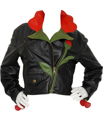 MOSCHINO A/W 1989/90 Flower Biker Leather Jacket Size S