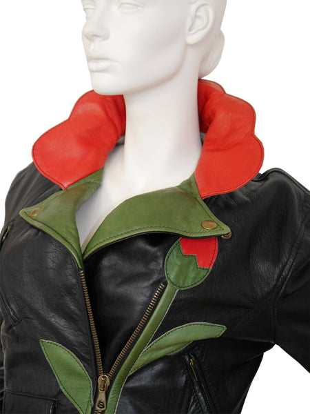 MOSCHINO A/W 1989/90 Vintage Flower Biker Leather Jacket Size M