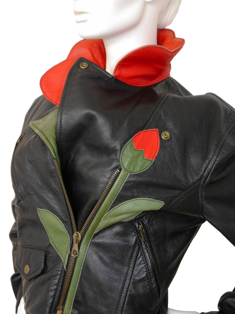 Sold - MOSCHINO A/W 1989/90 Vintage Flower Biker Leather Jacket Size M