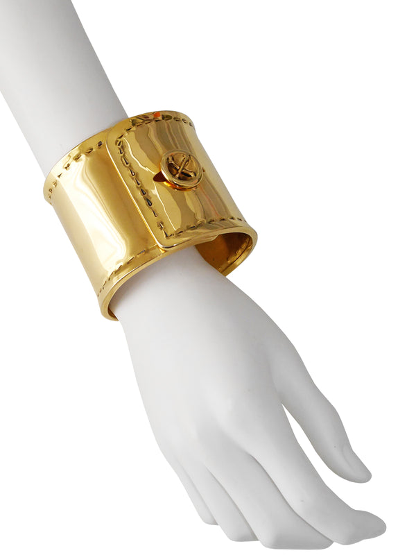 "MOSCHINO 1980s 1990s Vintage Wide Trompe l'Oeil ""Cuff"" Bangle Bracelet"