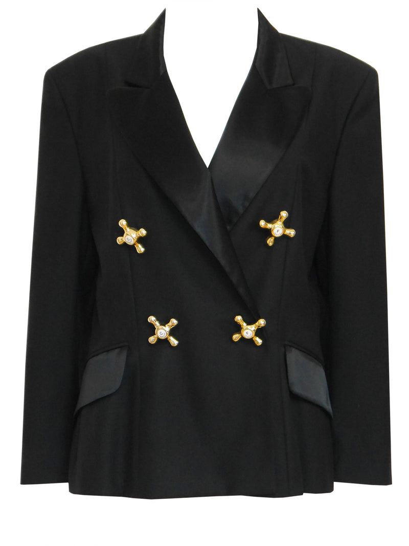"MOSCHINO 1990s Vintage Black ""Faucet"" Evening Jacket Size M"