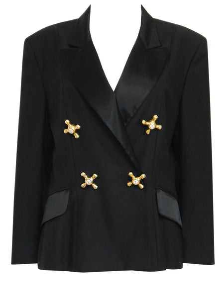 "MOSCHINO 1990s Vintage Black ""Faucet"" Evening Jacket"