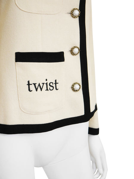 "MOSCHINO 1990s Vintage ""Let's Twist Again"" Jacket Size M"