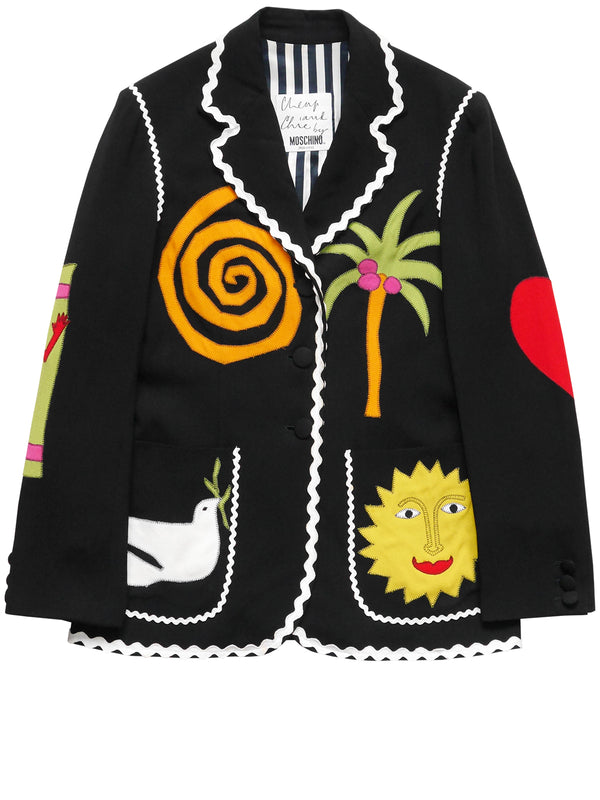 Sold - MOSCHINO c. Spring 1995 Vintage Novelty Jacket w/ Signature Appliqués Size S