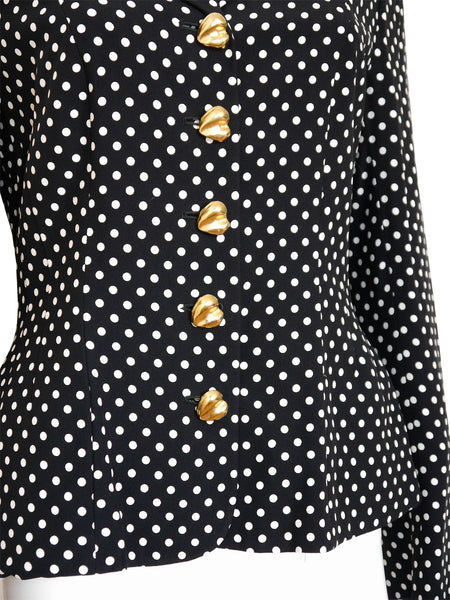 MOSCHINO Couture! Vintage Jacket Black & White Polka Dots S-M