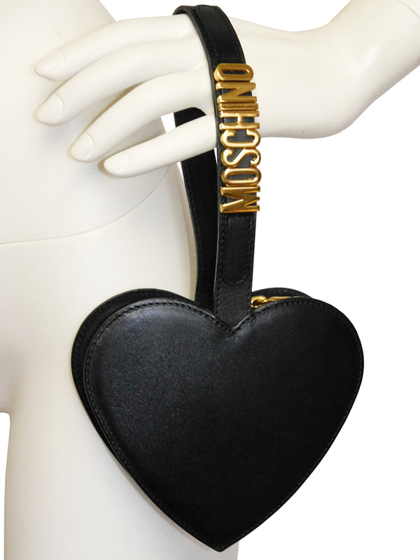 Sold - MOSCHINO Redwall Vintage Black Heart Wristlet Evening Bag
