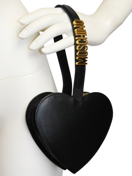 MOSCHINO Redwall Vintage Black Heart Wristlet Evening Bag