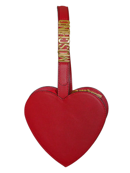 MOSCHINO Redwall Vintage Red Heart Wristlet Evening Bag