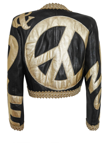 MOSCHINO Vintage Leather Biker Jacket Peace Symbol Size S