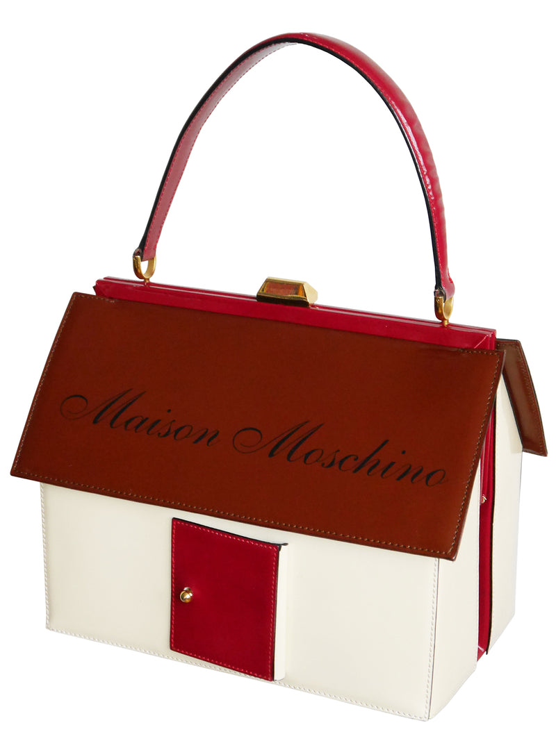 "Sold - MOSCHINO 1990s Vintage ""Maison Moschino"" House-Shaped Novelty Handbag"