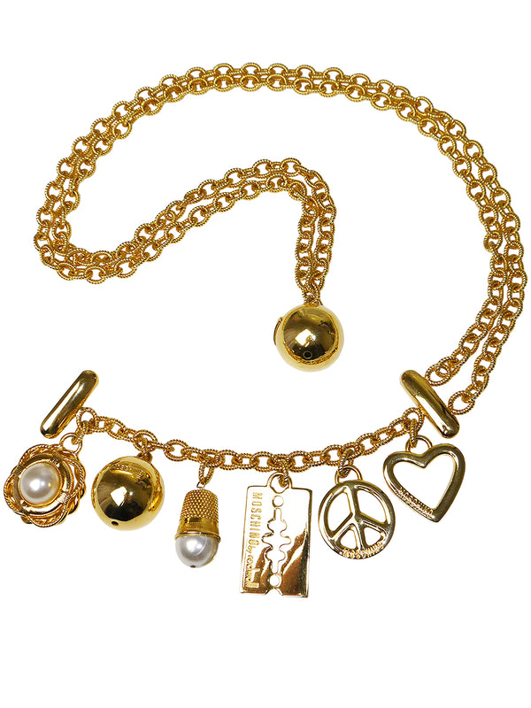 Sold - MOSCHINO by Redwall Vintage Signature Charm Statement Necklace or Belt