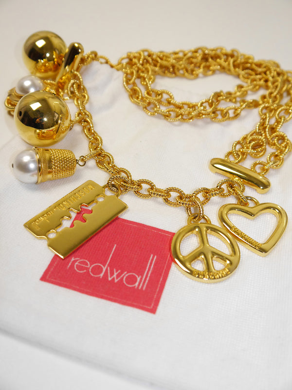 MOSCHINO by Redwall Vintage Signature Charm Statement Necklace or Belt