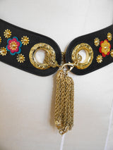 Sold - MOSCHINO Redwall Vintage Belt Metal & Leather Appliqués Size XS-S-M