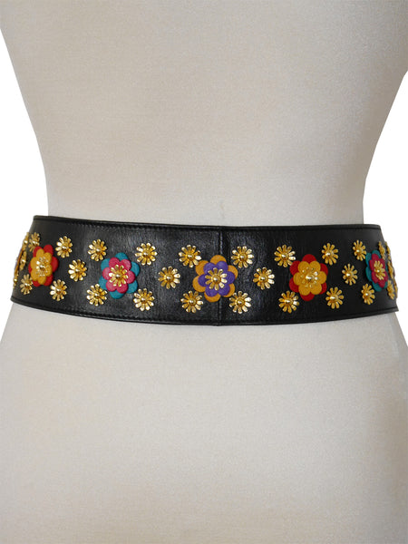 MOSCHINO Redwall Vintage Belt Metal & Leather Appliqués Size XS-S-M