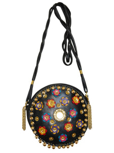 MOSCHINO Redwall Vintage Handbag Metal & Leather Appliqués