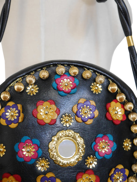 Sold - MOSCHINO Redwall Vintage Handbag Metal & Leather Appliqués