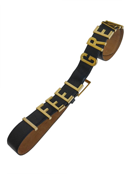 "MOSCHINO Redwall ""I FEEL GREAT"" Vintage Belt Size XS-M"
