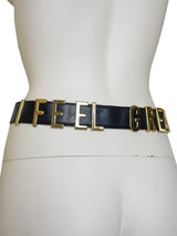 "Sold - MOSCHINO Redwall ""I FEEL GREAT"" Vintage Belt Size XS-M"