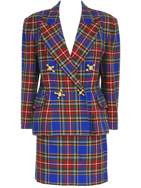 Sold - MOSCHINO Vintage Blue Checkered Tartan Faucet Skirt Suit Size M-L