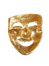MOSCHINO 1980s 1990s Vintage Gold-Tone Theater Comedy Thalia Mask Brooch