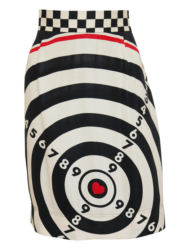 Sold - MOSCHINO Vintage Bull's Eye Darts Print Skirt Size L
