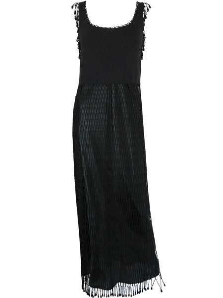 MOSCHINO 1990s Vintage Fishnet Crochet Beaded Evening Dress M