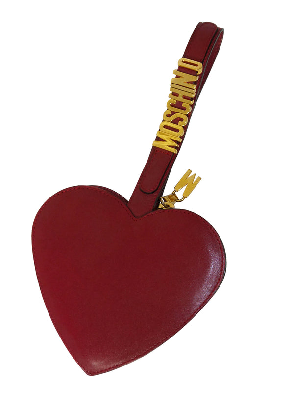 Sold - MOSCHINO Redwall Vintage Dark Red Heart Wristlet Evening Bag