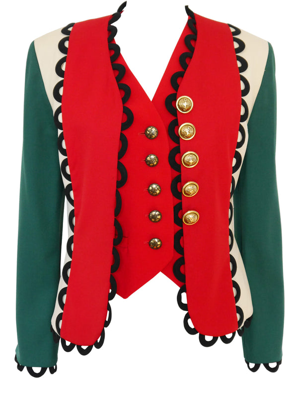Sold - MOSCHINO Fall 1992 Italian Flag Jacket & Vest Size S