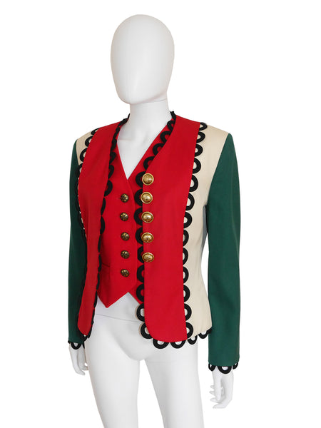 Sold - MOSCHINO A/W 1992/93 Italian Flag Jacket & Vest Size S
