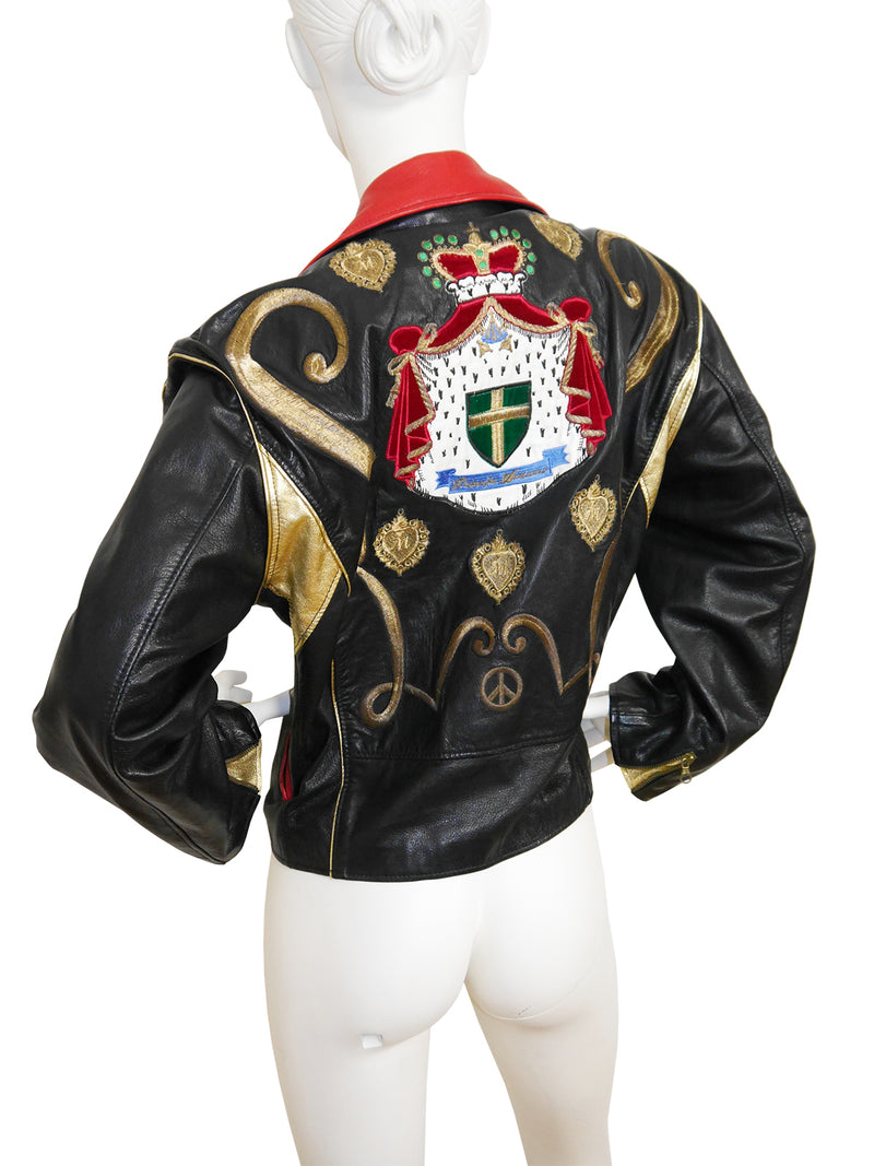 Sold - MOSCHINO 1980s Vintage Biker Leather Jacket w/ Embroidery Size S