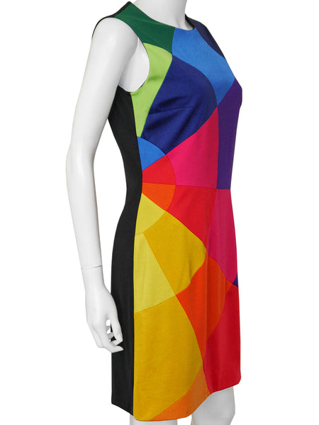 MOSCHINO 1990s Vintage Rainbow Mini Dress Size S