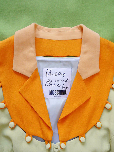 MOSCHINO 1990s Vintage Colour Block Puzzle Jacket Size S