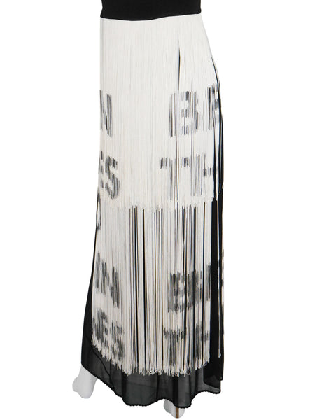 "Sold - MOSCHINO ""Read Between The Lines"" Fringed Maxi Dress Size S"