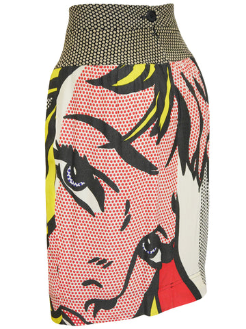 "Sold - MOSCHINO Roy Lichtenstein ""Girl with Hair Ribbon"" Print Skirt Size M-L"
