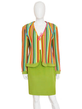 Sold - MOSCHINO 1990s Vintage Shoe Lace Suit Skirt & Jacket Size L