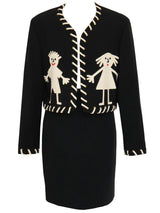 "Sold - MOSCHINO 1990s Vintage ""Stickman"" Skirt Suit Black Size XS-S"