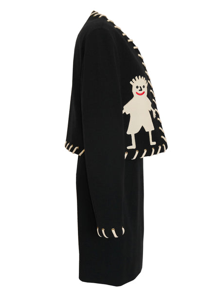 "MOSCHINO 1990s Vintage ""Stickman"" Skirt Suit Black Size XS-S"